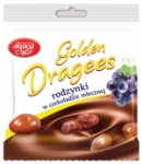 Golden milk chocolate coated raisins