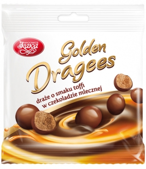 Golden milk chocolate coated toffee dragees