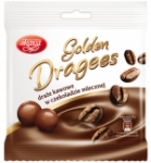 Golden milk chocolate coated coffee dragees