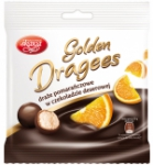 Golden chocolate coated orange dragees